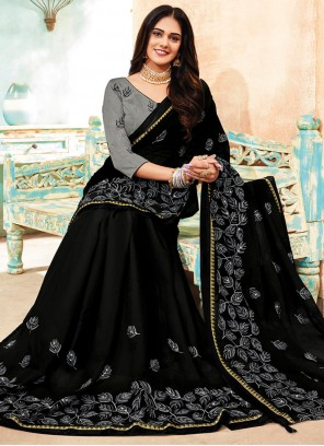 Embroidered Faux Chiffon Black Classic Saree