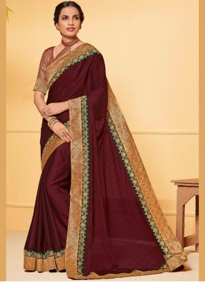 Embroidered Faux Chiffon Brown Classic Saree
