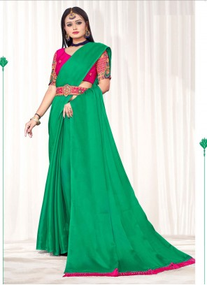 Embroidered Faux Chiffon Classic Saree in Green