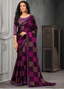 Embroidered Faux Chiffon Classic Saree in Multi Colour