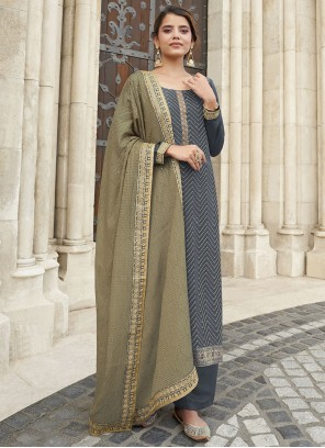 Grey Embroidered Faux Chiffon Designer Palazzo Suit