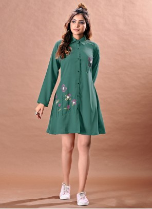 Embroidered Faux Chiffon Green Designer Kurti
