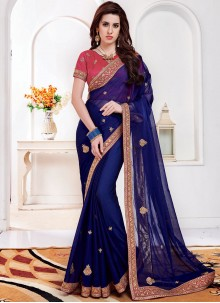 Embroidered Faux Chiffon Navy Blue Classic Saree