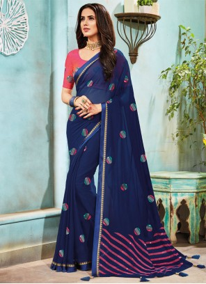 Embroidered Faux Chiffon Traditional Saree