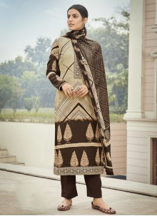 Embroidered Faux Crepe Designer Palazzo Suit