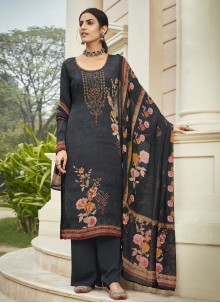 Embroidered Faux Crepe Designer Palazzo Suit in Navy Blue