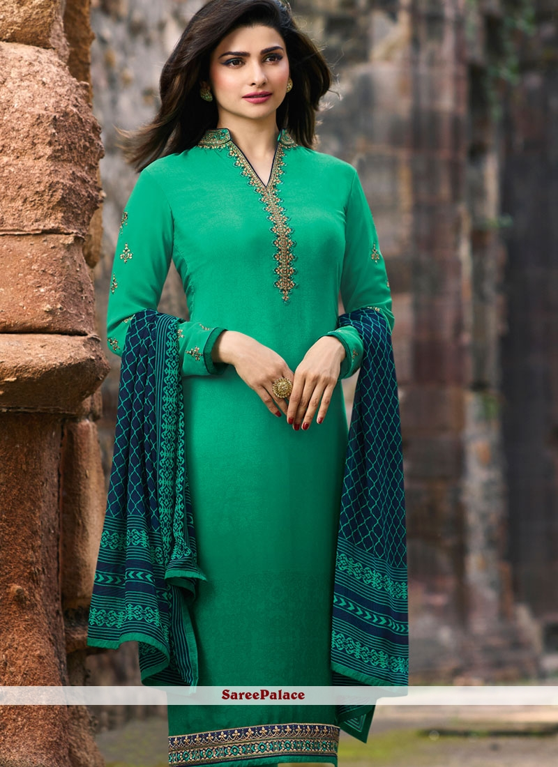 Embroidered Faux Crepe Green Churidar Salwar Kameez