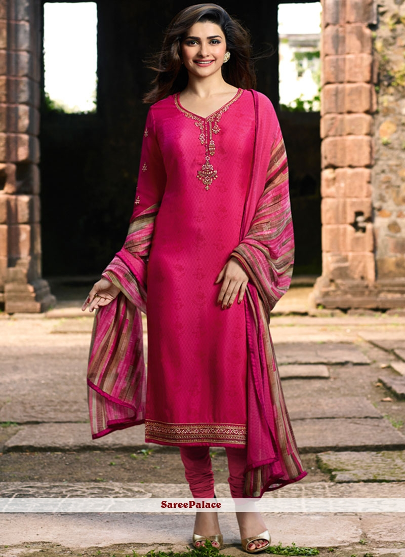 Embroidered Faux Crepe Hot Pink Churidar Salwar Suit