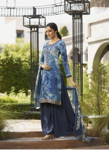 Embroidered Faux Crepe Salwar Suit