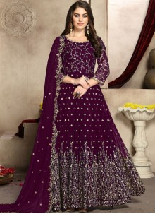 Embroidered Faux Georgette Anarkali Salwar Suit