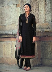 Embroidered Faux Georgette Black Designer Straight Suit