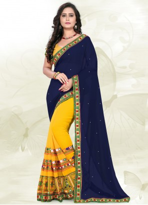 Embroidered Faux Georgette Blue and Yellow Half N Half  Saree
