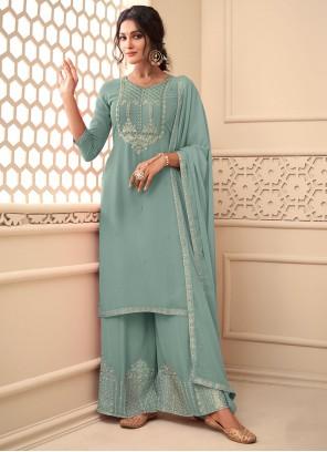 Embroidered Faux Georgette Blue Designer Pakistani Salwar Suit