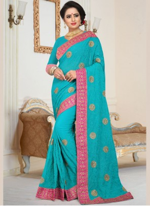Embroidered Faux Georgette Blue Saree