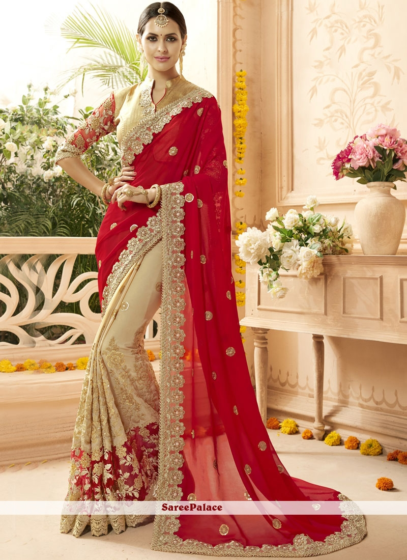 Embroidered Faux Georgette Classic Designer Saree in Cream and Red