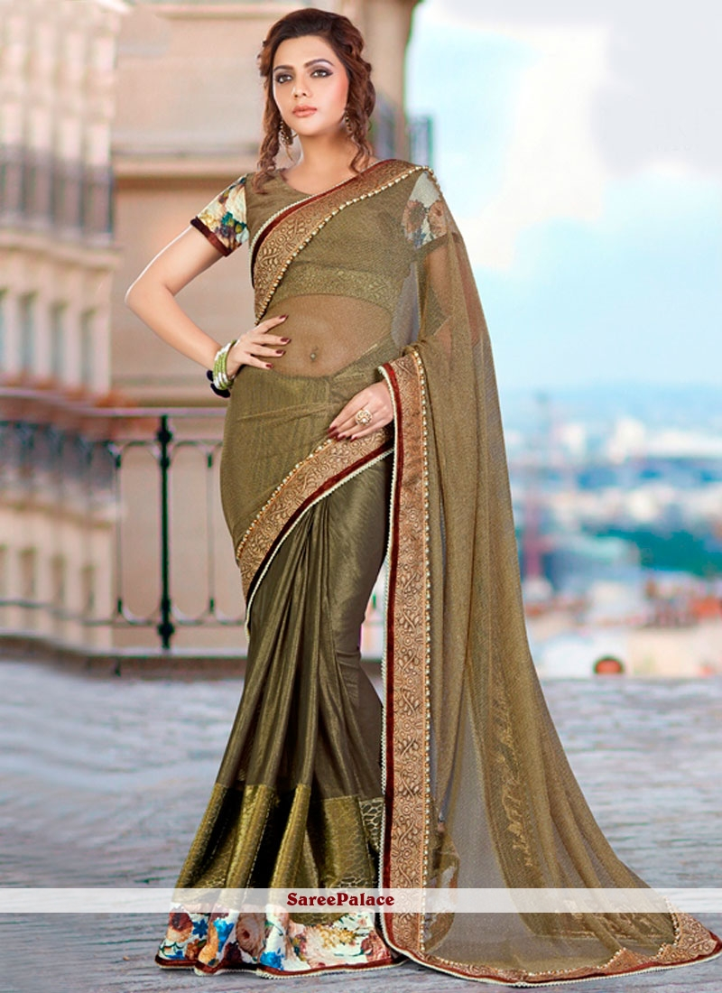 Embroidered Faux Georgette Classic Designer Saree in Green