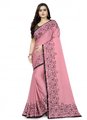 Embroidered Faux Georgette Classic Designer Saree in Pink