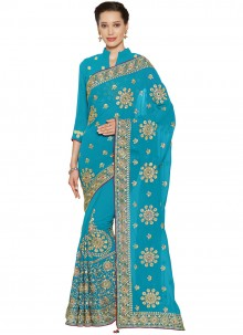 Turquoise Embroidered Faux Georgette Classic Saree