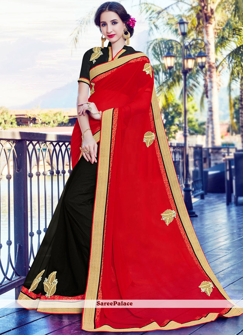 Embroidered Faux Georgette Designer Half N Half Saree in Black and Red