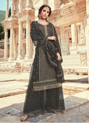 Embroidered Faux Georgette Black Designer Pakistani Salwar Suit