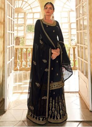 Embroidered Faux Georgette Designer Pakistani Salwar Suit in Black