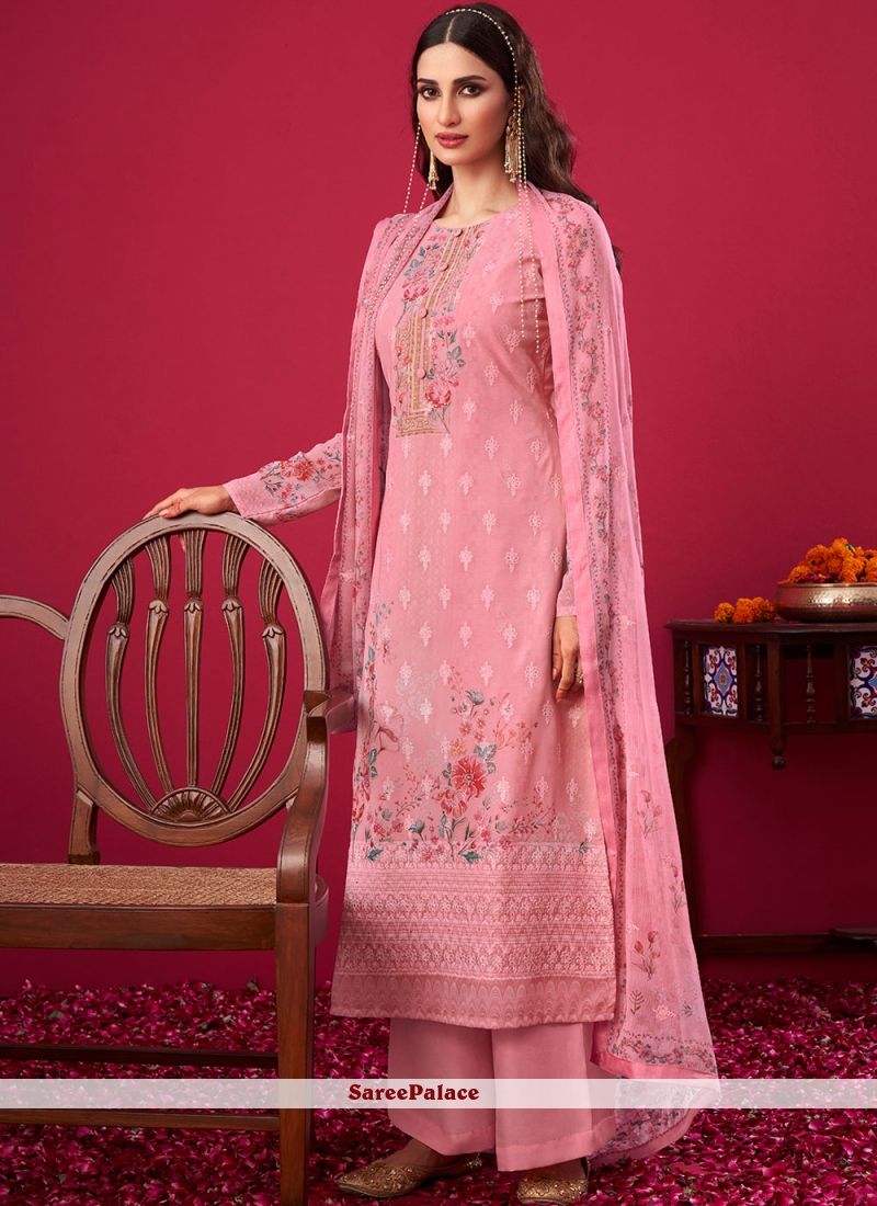 Pink Embroidered Faux Georgette Designer Pakistani Suit