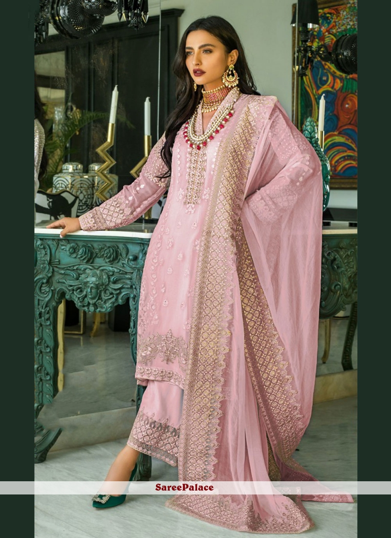 Embroidered Faux Georgette Designer Pakistani Suit in Pink