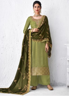 Embroidered Faux Georgette Green Designer Palazzo Suit