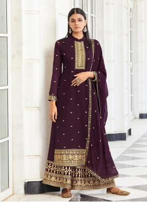 Purple Embroidered Faux Georgette Designer Palazzo Suit