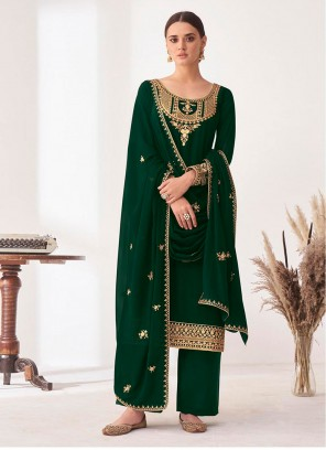 Embroidered Faux Georgette Designer Palazzo Suit