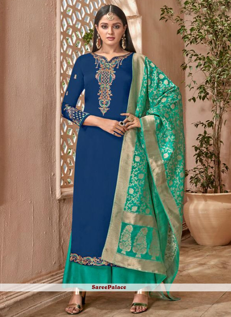 Blue Embroidered Georgette Designer Palazzo Suit