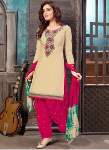 Embroidered Faux Georgette Designer Patiala Suit in Cream