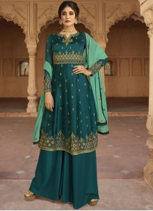 Embroidered Faux Georgette Designer Salwar Kameez