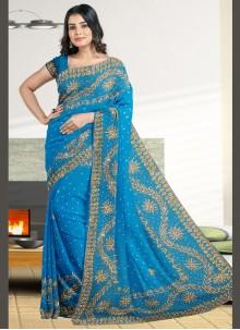Embroidered Faux Georgette Designer Saree in Blue