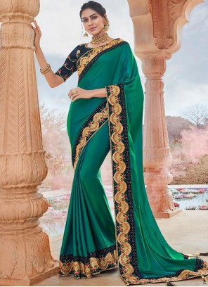 Embroidered Faux Georgette Designer Saree in Green