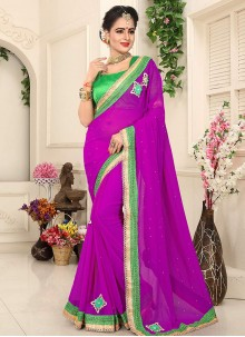 Embroidered Faux Georgette Designer Saree in Purple