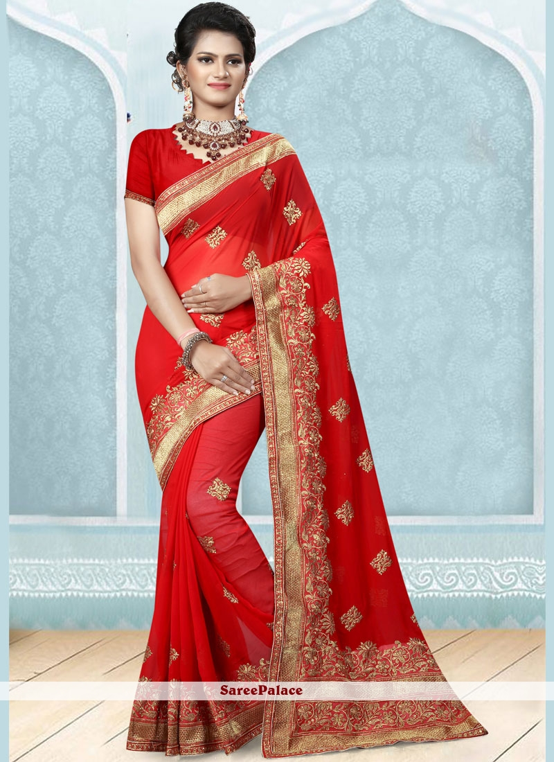 Embroidered Faux Georgette Designer Saree in Red