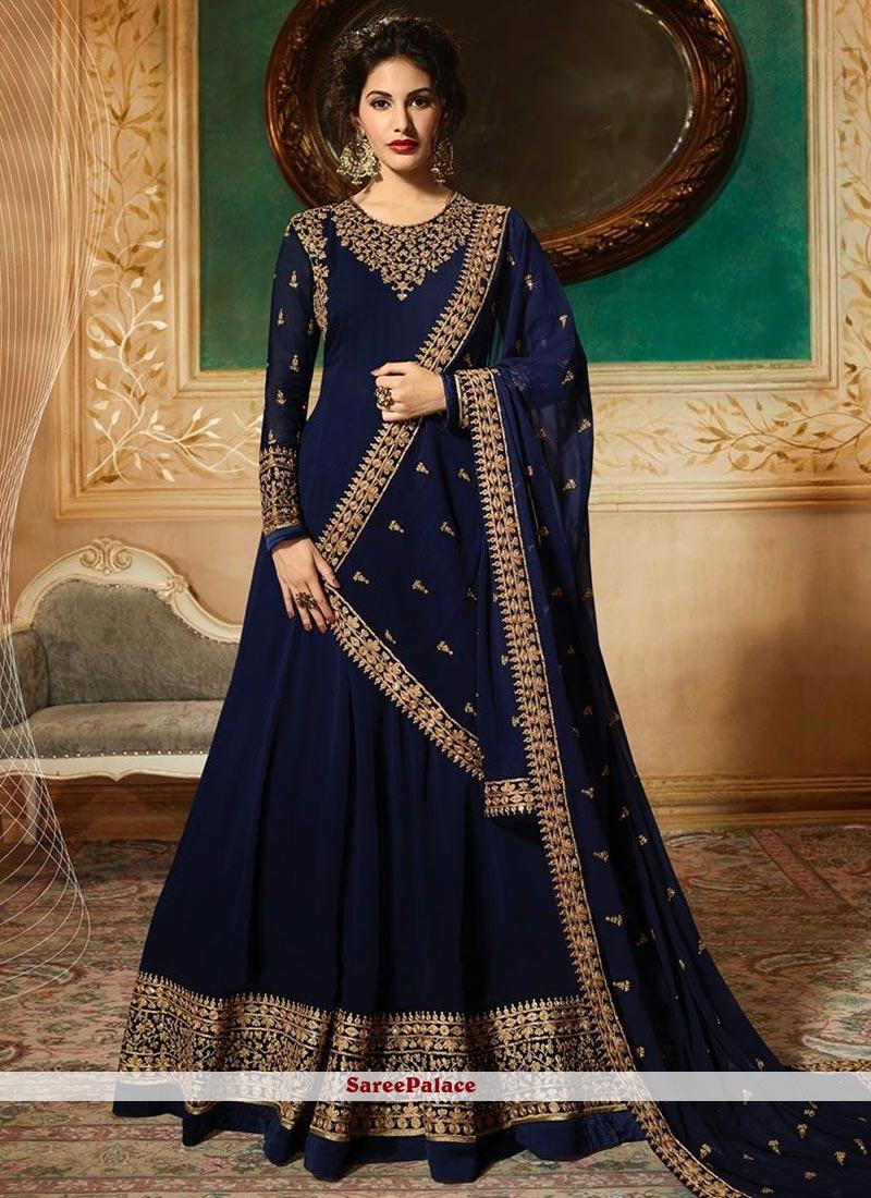 Navy Blue Embroidered Georgette Floor Length Anarkali Suit