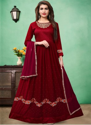 Embroidered Faux Georgette Floor Length Anarkali Suit in Red