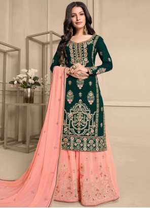Embroidered Faux Georgette Green and Peach Designer Pakistani Suit