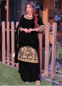 Black Embroidered Faux Georgette Long Choli Lehenga