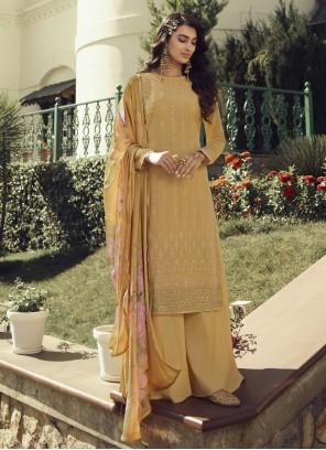 Embroidered Faux Georgette Mustard Designer Palazzo Salwar Kameez