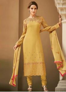 Embroidered Faux Georgette Mustard Salwar Kameez