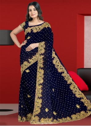 Embroidered Faux Georgette Navy Blue Classic Designer Saree