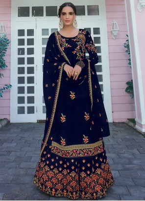 Embroidered Faux Georgette Navy Blue Designer Palazzo Salwar Suit