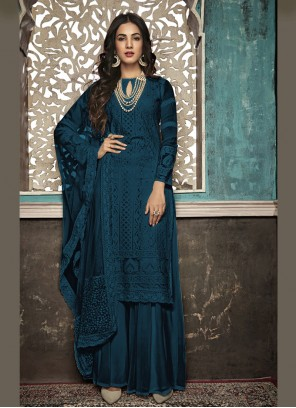 Embroidered Faux Georgette Navy Blue Salwar Suit