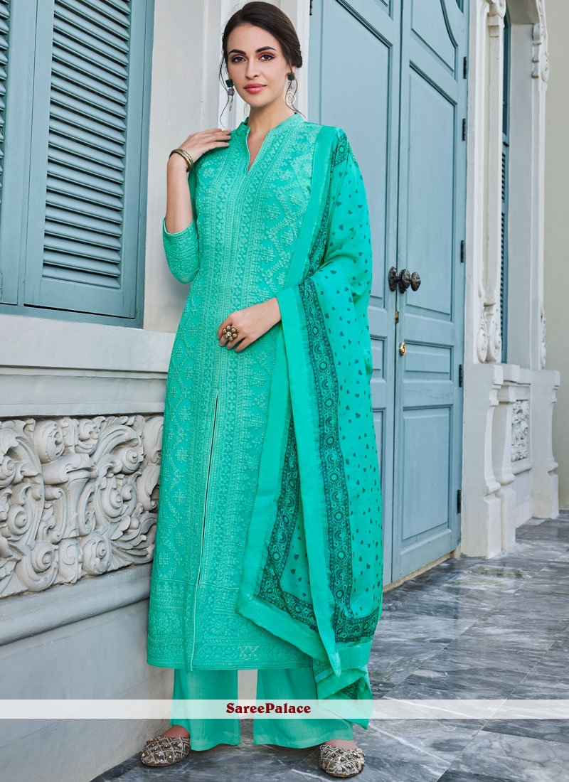Embroidered Faux Georgette Palazzo Suit