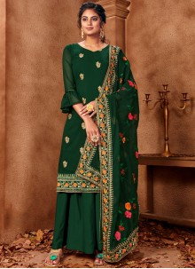 Green Embroidered Faux Georgette Palazzo Suit