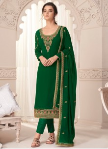 Embroidered Faux Georgette Pant Style Suit in Green