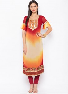 Embroidered Faux Georgette Party Wear Kurti